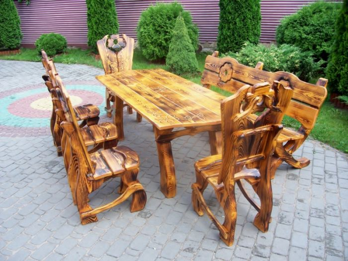 gartenset gartenm bel sitzgruppe aus massivholz von hand gefertigt ebay. Black Bedroom Furniture Sets. Home Design Ideas