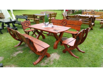 Gartenmöbel Set 5 teilig Holz 180 cm Handgefertigt