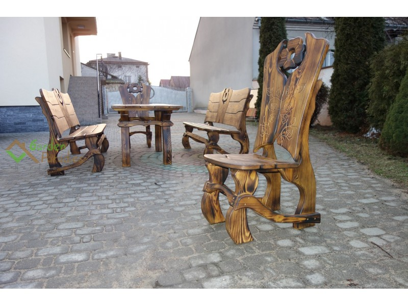 gartenm bel set aus holz handgefertig. Black Bedroom Furniture Sets. Home Design Ideas