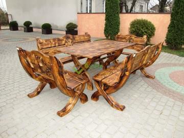 Gartenmöbel Set 5 teilig aus Holz 160 cm Handgefertig