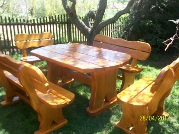 Sitzgruppe Gartenmöbel aus Massivholz Eichenholz Handgefertigt