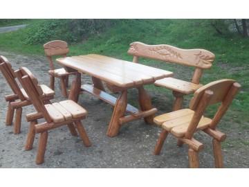 Sitzgruppe Gartenmöbel aus Massivholz 200 cm (5 Teile)